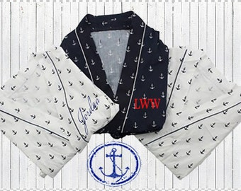 Monogrammed Anchor Robe, Personalized Anchor Robe, Monogrammed Nautical Robe, Personalized Nautical Robe, Monogrammed Bridal Robes