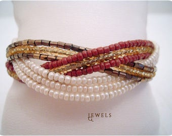 Multicolor & Bronze Cream Cable Bracelet