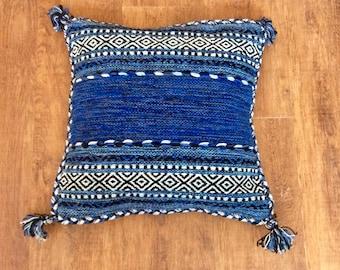 Vintage Handmade Blue Moroccan Tunisian Turkish Kilim Pillow Cushion Cover