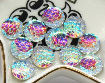 10 Pcs Mermaid Scale 12 mm Resin Mermaid Cabochon Fish Scale
