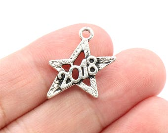 5 Pcs 2018 Charms Star Charms Antique Silver Tone 18x20mm - YD2358