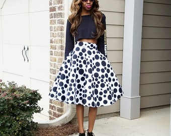 "Black Polka Dots on White Neoprene Skirt ""Gail"" XS-6XL"