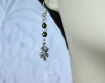 Saint Patrick's Day Silver Shamrock Earrings with Green and White Czech Glass Pearls