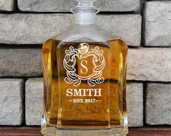 Housewarming Gift, Whiskey Decanter, Personalize Decanter, Groomsmen Gift, Glass Decanter, Personalized Whiskey Decanter, Liquor Decanter