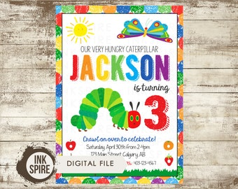 Hungry Caterpillar Birthday, Printable Very Hungry Caterpillar Birthday Party Invite Invitation, Hungry Caterpillar Party, DIGITAL FILE