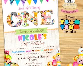 Tsum Tsum Invitation - 1st Birthday Invitation - Any Age Invitation - Tsum Tsum Birthday - Tsum Tsum Party - First Birthday