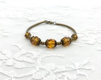 Bridesmaid Bracelet, Bridal Party Jewelry, Antiqued Bronze and Swarovski Crystal Bracelet