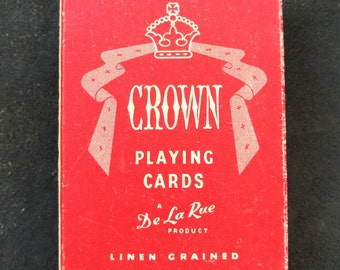 Vintage Crown Playing Cards - Thomas De La Rue. Vintage De La Rue Linen Grained Crown Playing Cards, Complete Deck, Two Jokers, Original Box