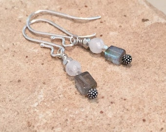 Labradorite and moonstone earrings, silver drop earrings, Hill Tribe silver earings, dangle earrings, silver dangle earrings, boho earrings