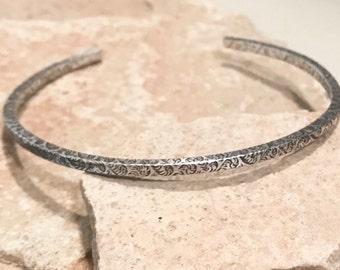 Sterling silver cuff bracelet, patina pattern cuff bracelet, stackable sterling silver bracelet, sterling silver cuff, silver bracelet
