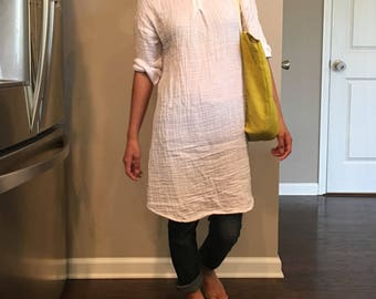 NEW!!Summer dress/ Tunic /Washed/ Textured/100% DOUBLE gauze cotton/cotton dress/long tunic/long top/three-quarter sleeve