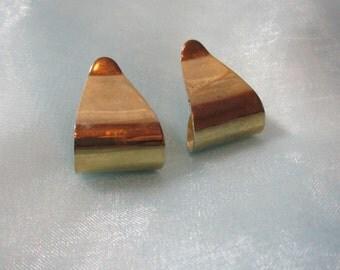 Gold Tone Metal Dangle Pierced Earrings