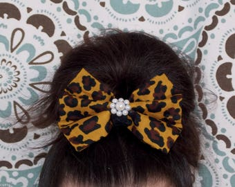Leopard Print Large Bow with Pearls