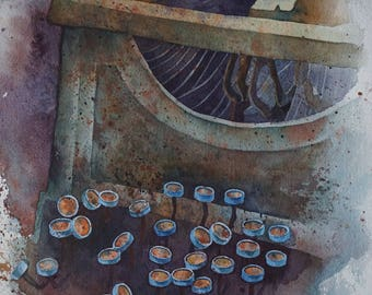 ORIGINAL watercolor PAINTING of a old typewriter2
