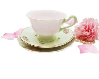 Vintage Teacup Trio Mint Green Royal Albert Pastella Pink Floral Teacup, English Bone China