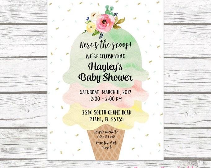 Ice Cream Baby Shower Invitation, Ice Cream Social Invitation, Watercolor Baby Shower Invite, Sprinkle Baby Shower Printable