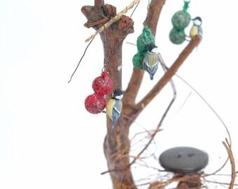 Great tit feeding on Suet/fat Balls - 1/12th dollshouse miniature hanging garden bird