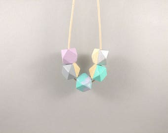 Geometric Necklace - Silver, Mint Pastel Pink | Statement Necklace | Gift for her | Geometric Jewellery | Unicorn necklace | Geometric | Geo
