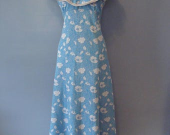 Vintage Maxi Dress 70's Ruffle Top Flowy Floor Length Blue White Silver Floral Print Handmade 1970's Metallic Thread Lame' Boho Resort