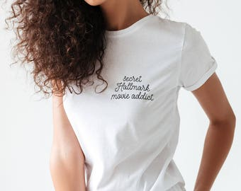 Hallmark Shirt SECRET HALLMARK ADDICT • Hallmark Movies Hallmark Channel Hallmark Christmas Movies Pocket Shirt Stitched Style