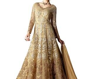 Indian Bollywood Designer Beige Colored Lehenga Salwar Suit Anarkali heavy embroidered Suit Dress