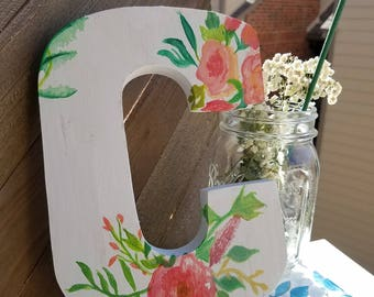 Custom Handmade Floral Lettering. Personalized Art Piece. Floral Painting