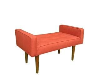 Burnt Orange Walnut Mid Century Upholstered Bench - Tufted~ Design 59 inc