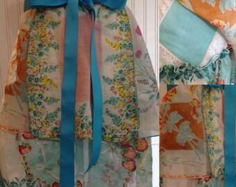 Vintage half apron handkerchief shabby chic aqua teal orange bright aqua grosgrain ribbon long ties crochet trimmed hanky hidden  pockets