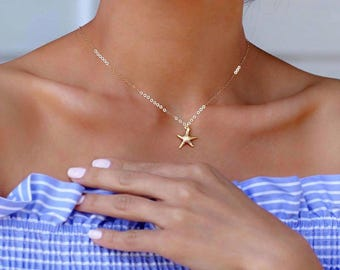 Starfish Necklace/ Gold Starfish Necklace/ Dainty Starfish Charm Necklace/ Personalized Starfish Charm Necklace/ Beach Jewelry/ Gift For Her