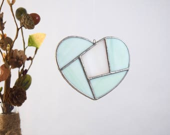 Glass Heart Sun catcher, Stained glass window decor, Handmade Glass Gift, Glass Heart Ornament Wall Decor, Made in USA Gift under 20