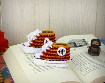 Harry Potter baby Shoes, HARRY POTTER baby booties, Hufflepuff - Gryffindor - Slytherin - Ravenclaw, Crochet baby SHOES