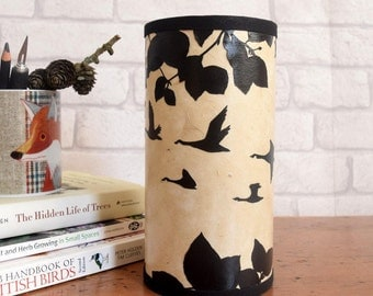 Small Table Lamp / Papercut Silhouette Woodland and Birds Lamp / UK fittings
