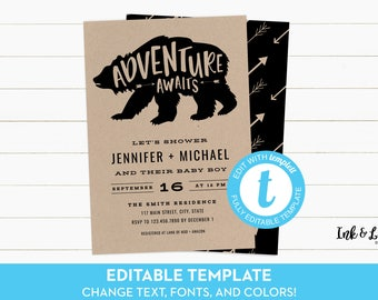 Adventure Awaits Baby Shower Invitation - Printable Baby Shower Invitation - Boy Baby Shower Invitation - Adventure Shower - Kraft Paper