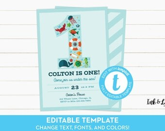 Under the Sea Invitation - First Birthday Invitation for Boy - Under the Sea First Birthday - Boy First Birthday Template - Printable Invite