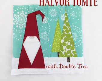 HALVOR TOMTE with Double Tree Quilt Block // Foundational Paper Piecing // PDF // Instant Download // Nisse Gnome