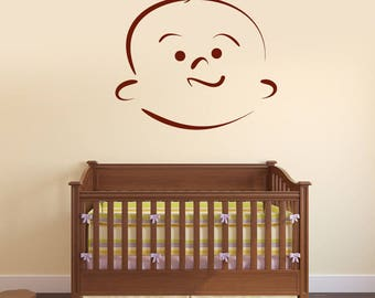 Wall Vinyl Decal Beauty Baby Cartoon Face with Emotion Decor for Kids Room (#2487dn)