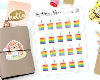 Birthday Cake Planner Stickers - Birthday Planner Stickers - Party Stickers - Cake Planner Stickers - Rainbow Planner Stickers - 223