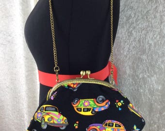 Psychedelic VW Beetle Grace frame handbag purse clutch bag fabric handmade in England incl detachable chain