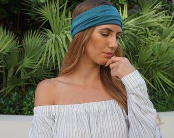 Yoga Headband Emerald Green Yoga Headband Workout Running Headband / Boho Wide Headband / Womens Headbands / Boho Headband / Hippie Headband