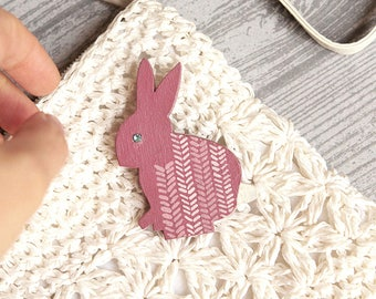 wooden brooch rabbit,  little wooden brooch rabbit,  wood pin animal, pin jewerly, valentine's day gift