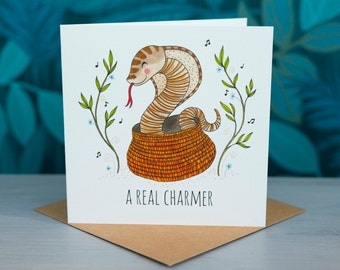 Snake Greeting Card - 'A Real Charmer'