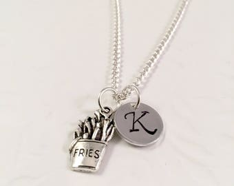 Fries necklace, Best friend Fries Necklace, Charm Necklace, Initial Necklace,  Best friends gifts, Long Distance Gift Ideas, Foodie