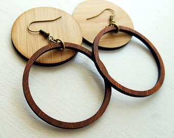 Lightweight Brown Wood Hoop earrings inspired by Joanna Gaines fixer upper / sustainable bamboo wood