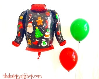 "31"" Ugly sweater balloon. ugly sweater balloon. Holiday balloons. Christmas balloons. ugly sweater decor. Christmas party. christmas sweater"