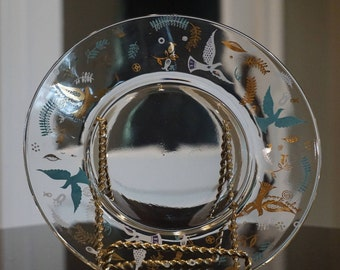Mid Century Modern Georges Briard Plate/Doves/ Aqua and Gold