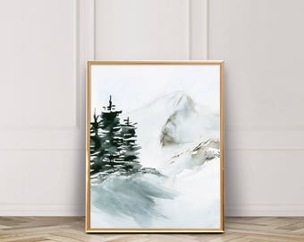 Snowy Mountain / Winter Scene / Evergreen / Fine Art Watercolor Art Print / UNFRAMED / 5 x 7 / 8 x 10