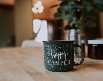 Campfire Mug // Happy Camper Mug // Ceramic Mug // Gray Campfire Mug