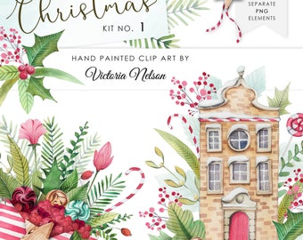 Hand Painted Watercolour Christmas Clip art - KIT 1 - By Victoria Nelson
