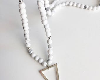 """""""Flake"""" howlite, silver plated triangle necklace"""