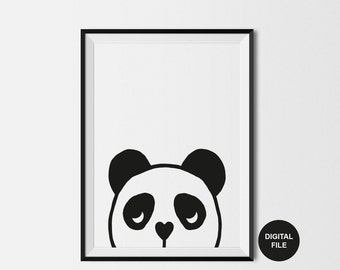 Kids Panda Print, Digital Download, Printable Poster, Black & White Nursery, Kids Wall Art, Panda Illustration, Monochrome Animal, Art Print